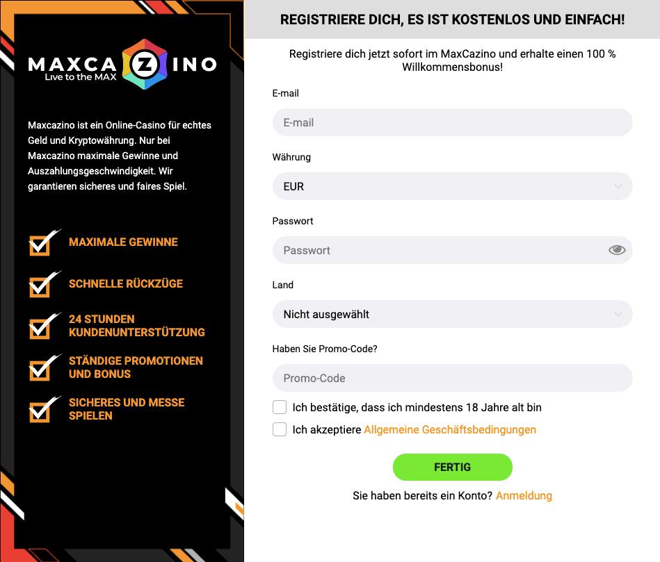 Max Casino Registrierung