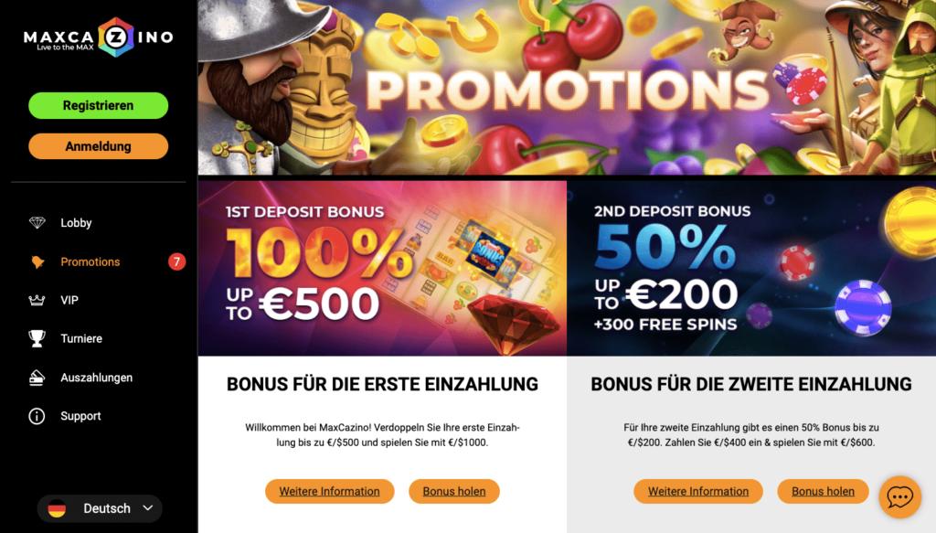 Max Casino Spielangebot